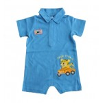 Blue collared romper with tiger applique and embroidery