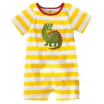 Yellow striped romper with dinosaur print