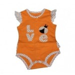 Orange 'love' bodysuit with polka dot trims