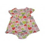 Multi-coloured heart print layered bodysuit