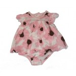 Pink and white multi-layered bodysuit with brown splats