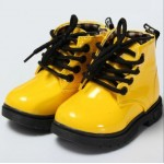 Yellow ankle boots with rubber sole