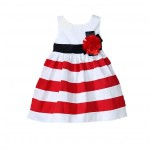 White and red striped dress with detachable flower brooch