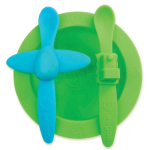 Oogaa mealtime set - green bowl with blue & green spoons