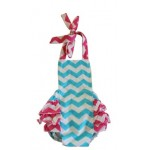 Blue and hot pink chevron romper