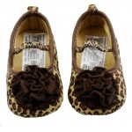 Leopard print soft-sole shoes with brown flower