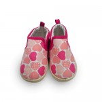 Pink heart print girls walking shoes
