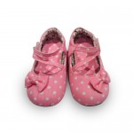 Pink with white polka dot girls walking shoes