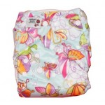 Butterfly print modern cloth nappy with 2 microfibre inserts