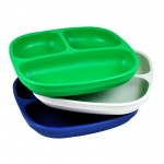 Re-Play Divided Plates 3 pack - Navy / Kelly Green / White