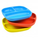 Re-Play Divided Plates 3 pack - Sky Blue / Red / Yellow