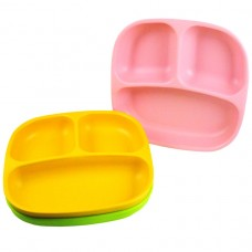 Re-Play Divided Plates 3 pack - Baby Pink / Green / Sunny Yellow