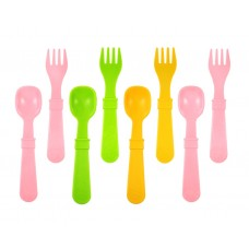 Re-Play Utensils 8 pack - Baby Pink / Green / Sunny Yellow