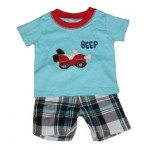 Blue car print tee and plaid shorts set