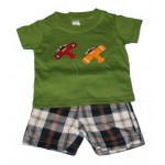Green aeroplane tee and plaid shorts set