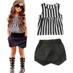 Black and white stripe top and skorts set