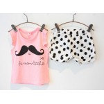 Pink moustache tee with white and black polka dot shorts set