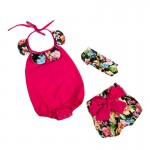Hot pink with flowers 3 piece set