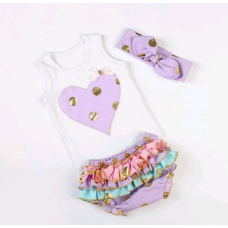 Purple, pink, aqua and gold bloomer set