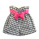 Black and white check shorts with pink bow belt