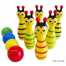 Wooden mini bowling animals set - yellow bee