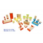 Wooden doll house furniture set - 26pcs
