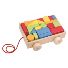 Wooden mini block and roll pull along cart