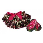 Army print satin bloomers with matching soft-sole shoes (SET)
