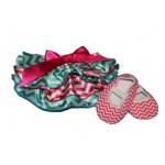 Hot pink and green chevron satin bloomers with matching soft-sole shoes (SET)