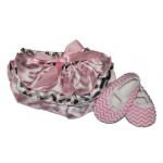 Light pink and grey chevron satin bloomers with matching soft-sole shoes (SET)