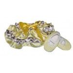 Yellow and grey chevron satin bloomers with matching soft-sole shoes (SET)