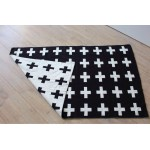 Knitted black and white cross blanket
