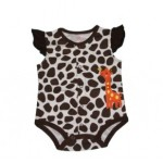 Brown and white animal print bodysuit with giraffe applique
