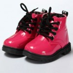 Pink ankle boots with rubber sole