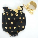 Black and gold polka dot collared romper