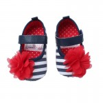 Blue and white stripe soft-sole shoes with red flower