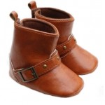 Brown soft-sole buckle boots