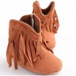 Brown soft-sole tassel boots