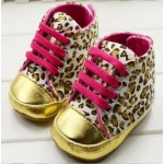 Leopard print soft-sole shoes with pink laces