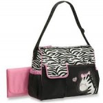 Carter's pink and black zebra print nappy bag