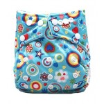 Hippie print modern cloth nappy with 2 microfibre inserts