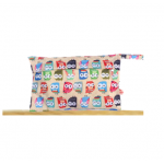 Beige owls waterproof nappy pouch