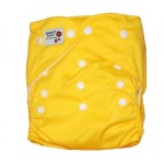 Yellow modern cloth nappy with 2 microfibre inserts