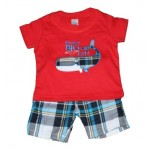 Red whale print tee and plaid shorts set