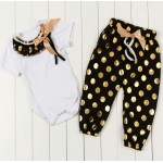 Black and gold polka harems set