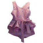 Purple plaid peplum style top and shorts set