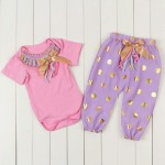 Pink, purple and gold polka harems set