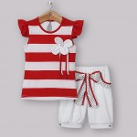 Red and white striped set