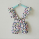 Blue floral print suspender shorts