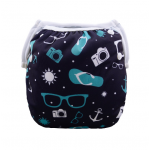 Navy, teal & white baby swim nappy